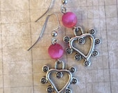 CLEARANCE SALE Unusual Heart Earrings, Pink, Whimsical, Valentines Day