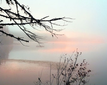"Landscape photography sunrise summer lake dreamy pink blue purple pastel fog trees - ""Lakeside""  8 x 10"