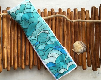 Baby Burp Cloth - Layette Gift - Colorful Blue Waves - Ocean - Surf - Gender Neutral Baby - Made in Maui, Hawaii USA