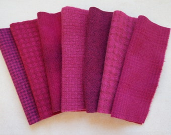 Fuchsia - Pink - Magenta - Hand Dyed Felted Wool Fabrics Perfect for Rug Hooking and Applique