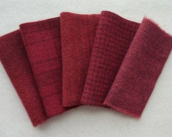 """Hand Dyed Felted Wool Fabric in Wine - Burgundy 5"""" x 5"""" Wool Charm Pack of 5 Quilting, Sewing, Wool Applique"""
