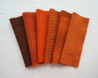 Red Orange - Hand Dyed Felted Wool in a Beautiful Collection a Perfect Rug Hooking, Applique Wool, Quilting, Sewing by Quilting Acres