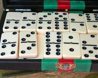Vintage Dominoes in Case
