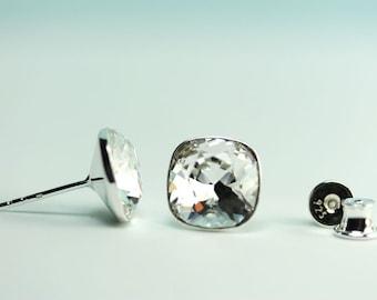 Stud Earrings, Swarovski Crystal 10mm Cushion cut square sterling silver post earings, Wedding, gift for her, art4ear, sparkle like diamonds