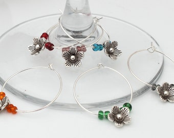 Silver plated cute flower wine glass charms- Set of 6 mixed colours- Hostess Gift, wedding favour, garden party