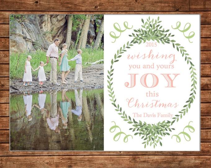 Photo Picture Christmas Holiday Card Joy Wreath Garland Laurel Elegant Preppy Traditional - Digital File