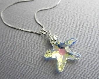 Swarovski Starfish Necklace, Sterling Silver Necklace, Star Necklace, Sea Star Necklace, Beach Wedding Necklace, Bridesmaid Necklace
