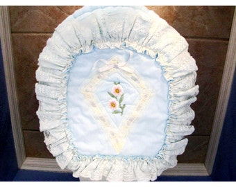 Country Cottage Shabby Chic Bathroom Decor Toilet Seat Cover Vintage Hand Embroidered