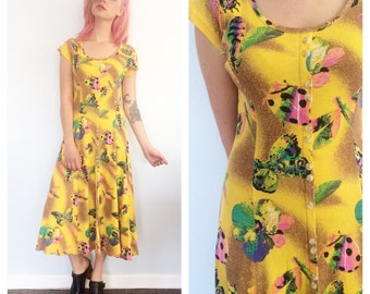 Vintage 90s Lady Bug and Butterfly Maxi Dress