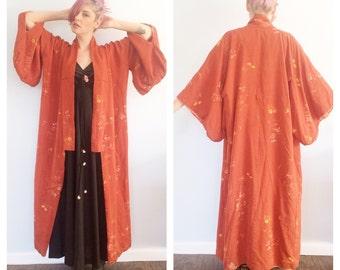 Vintage Rust Floral Kimono