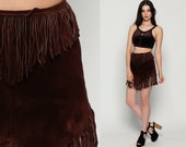 Suede FRINGE Skirt Leather Mini Hippie Boho Pocahontas Skirt 70s High Waist Bohemian Festival Native American Brown Vintage Extra Small xs