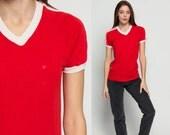 Ringer Tee Shirt Striped TShirt 80s T Shirt V NECK Red Plain Top Grunge Hipster Retro Tee Raglan Sleeve Vintage White Medium
