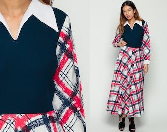 Plaid Dress 70s Maxi Mod Checkered 60s Preppy Checkered Print High Waisted Vintage Boho Retro Red White Blue Long Sleeve Collar Medium