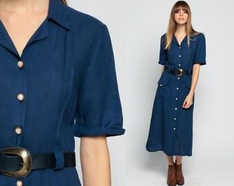 Secretary Dress Button Up 80s High Waist Navy Blue ShirtDress BELTED Retro Midi Collared Short Sleeve 1980s Hipster Pocket Plain Medium
