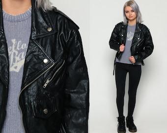 Leather MOTORCYCLE Jacket 80s Black Biker Crop 1980s Vintage Moto Punk Rock Hipster Coat Belted Zippered Epaulette Womens Small xs