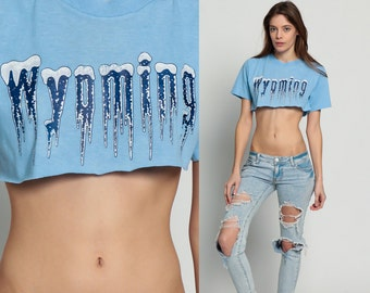 Crop Top WYOMING Shirt Retro TShirt Vintage T Shirt 80s Travel Tee Graphic Print US State 1980s Cropped Baby Blue Small medium