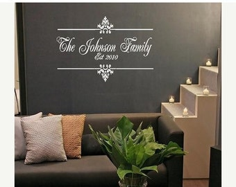 ON SALE Family Name and Established Year Vinyl Wall Decal - Personalized Monogram Wall Decal - Entryway Foyer Living Room Lettering 22H x 36