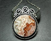 Crazy Lace Agate and Sterling Silver Necklace