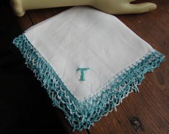 "Vintage  White Hanky/Handkerchief. ""T"" Monogram in Aqua with Aqua crocheted lace Edge"