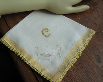 "Vtg White Linen Hanky/Handkerchief with ""C"" Monogram in Yellow. Crocheted edge. Floral Focal Corner"