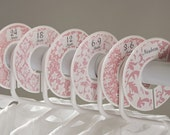 6 custom baby closet dividers (No.12) pink swirls flowers damask girl clothes divider newborn nursery school organizer Closet Doodles®