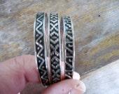 3 Sterling Bangle Bracelets Southwest Native American Design Signed M in Wreath