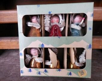 6 Vintage Shiny Brite Cardboard Mica Pipe Cleaner Angel Ornaments in Box Japan