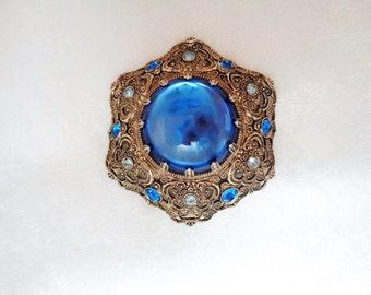 Vintage West German Colbalt Blue Glass and Rhinestone Brooch