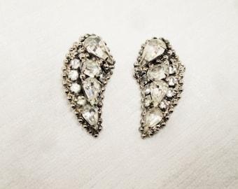 Vintage Kramer of New York Silver Tone and Rhinestone Earrings