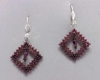 Purple Peyote Stitch Beaded Earrings with Swarovski Crystal in Center Sku: ER1017