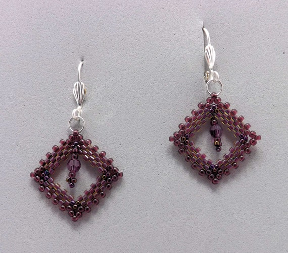Purple Peyote Stitch Beaded Earrings with Swarovski Crystal in Center Sku: ER1017
