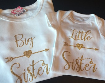 Gold Glitter Big sister/ Little sister set