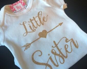 Gold Glitter Little sister bodysuit