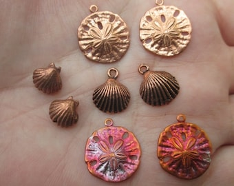 Solid Copper Shell or Sand dollar Charms