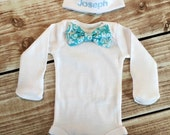 Mom and Baby Boy Matching Bow Tie Onesie with Monogrammed Hat for Baby  - add a matching Blanket or Burp Pad Set - Mom and Baby first Pic