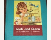ON SALE 1956, Look and Learn, Children's Learning Book, Beautiful Colored Illustrations, HC