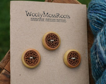 3 Wood Celtic Buttons- Oregon Cascara Wood- Wooden Buttons- Eco Craft Supplies, Eco Knitting Supplies, Eco Sewing Supplies