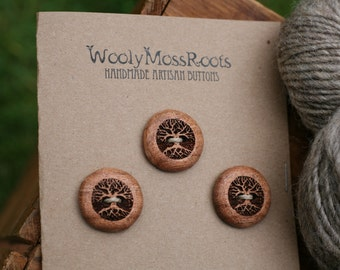 3 Wood Tree Buttons- Oregon Madrone Wood- Wooden Buttons- Eco Craft Supplies, Eco Knitting Supplies, Eco Sewing Supplies