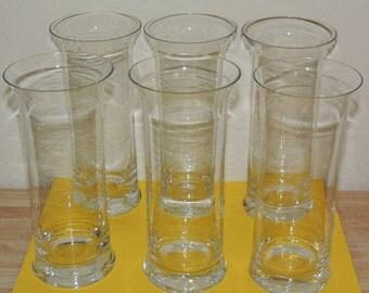 6 Mid Century Tall Flared Rim Glasses