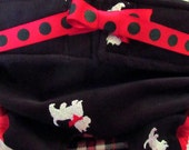 Dog Diapers Britches or Panties Ultra Soft Black Corduroy with White and Red Terrior Westie Embroidery