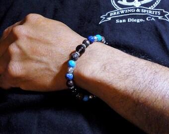 Mens Bracelet, Denim Lapis, Howlite, Smoky Quartz, Brown Jasper - Beaded Mens Jewelry