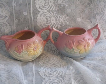 Cream & Sugar Hull ~ Wildflower ~Number Series~ Matte Pottery Set - Vintage Creamer-Double Handle  Sugar Bowl