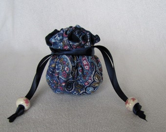 Jewelry Travel Bag - Mini Size - Drawstring Fabric Pouch - Jewelry Tote - WRAPPER SNAP
