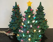 CERAMIC XMAS TREES with Lights Star On Top of One Plug In, All Work at A Vintage Revolution