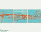 Fighter Airplane Wall Art - Old War Airplane Print - Garage Art - Man Cave Decor 12x36