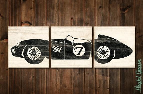 Vintage race car boys room decor race car nursery by for Car themed room decor