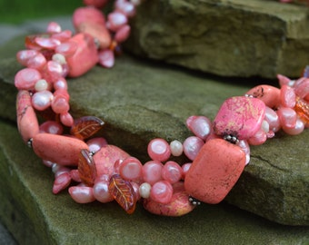 Pink Magnesite Necklace with Glass Leaves, Pink Potato Pearls and Cream Crystals