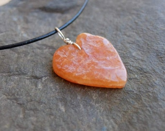 Carnelian heart jewelry - unique natural stone heart necklace -  ethically sourced gem stone