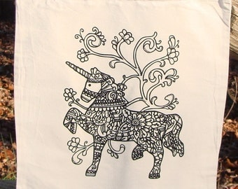 Unicorn Tote Bag Market Bag Graphic Fantasy READY TO COLOR Zendoodle Adult Coloring Original Drawing Funny Book Bag Cotton Canvas Great Gift