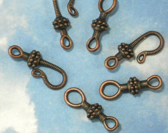 Close OUT SaLE 50 Dark Copper Clasp Sets Hook & Eye Clasps Antiqued Bali Style (P9598 -50)